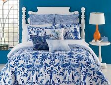 KAS Australia Beatriz Blue & White 5PC Full Queen Duvet Cover Set w/ Euros   NIP
