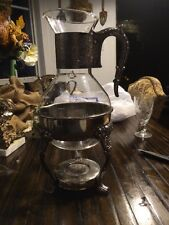 Vintage Glass Silver Tea / Coffee Server With Warmer 13 Inches