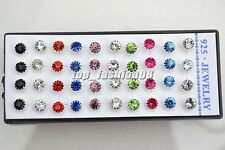 Wholesale Lots 20Pairs CZ Rhinestone Silver P Earrings Wedding Jewelry FREE
