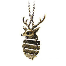 Fashion Women Lady Deer Long Sweater Chain Jewelry Bronze Necklace Pendant Gift