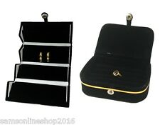 Combo-Black Earring Studs Organizer & Ring Pocket Case Velvet Travel Jewelry Box
