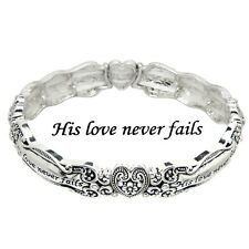 Spoon Jewelry Bracelet Stretch Bangle Message Bangle Prayer SILVER His Love