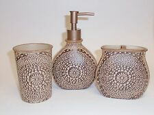NEW 3 PC SET BROWN,BEIGE ROUND INDIAN PATTER RESIN SOAP DISPENSER+TUMBLER+TOOTHB