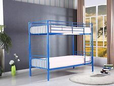 New Childrens Kids Blue Sophia Metal Bunk Bed Frame With 2 Mattresses