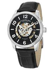 Stuhrling 649 01 Legacy Automatic Skeleton Date Black Leather Strap Mens Watch