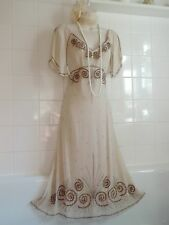 WALLIS 10 Vintage 1920s Deco Bead Sequin Downton Charleston Flapper Gatsby Dress