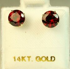 14k solid yell. gold 6mm red Garnet stud screw back gorgeouse earrings 1.75 tcw