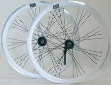 Paire de roue vélo fixie single speed blanche 40mm a rétropédalage neuve 9x4