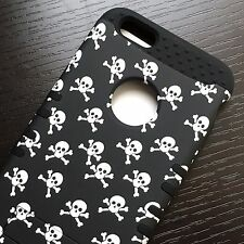 iPhone 6+ / 6S+ Plus - HYBRID IMPACT ARMOR CASE COVER BLACK WHITE SKULL