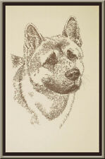 AKITA DOG ART Signed Stephen Kline Lithograph #43 draws your dogs name free GIFT