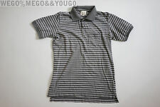 Band of Outsiders BoO Gray Stripe Polo Short Sleeve Cotton Shirt Sz Small S