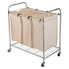New 3 Bag Laundry Rolling Cart Basket Hamper Sorter Storage 4 Wheels Organizer