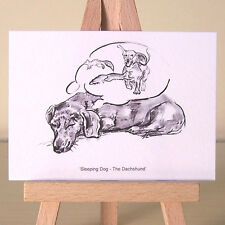 Dreaming Dachshund ACEO art card sleeping Doxie charcoal drawing