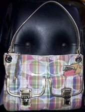 AUTH COACH MADRAS SIGNATURE SEQUIN HOBO BAG PURSE 19610 MULTICOLOR $298 - RARE