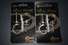 2 Pair of Conso 100% Solid Brass Gold C Hooks 4 mounts/screws 85519