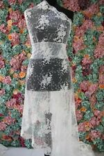 """060092 Sold by 1/2 yard Ivory corded beaded french Bridal Lace Fabric52"""" Scallop"""