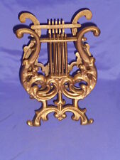 VTG CAST IRON METAL LYRE HARP MAGAZINE SHEET MUSIC RACK HOLLYWOOD REGENCY GLAM
