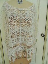 New Cato Plus size 26/28W see-through ivory lace fringed tunic top short sleeves