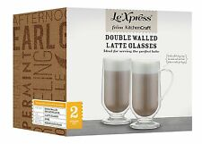 New Le Xpress Set Of 2 Two Double Walled Latte Clear Glass Glasses 325ML