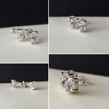 Sterling silver/925 hallmarked/CZ/oval/studs/earrings/4mm/boxed