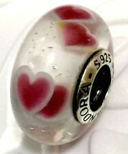 Authentic Pandora 925 silver murano bead charm galss  Wild Hearts love 791649