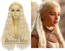 Game of Thrones Daenerys Targaryen Wig Blonde Wavy Synthetic Hair Cosplay Wigs