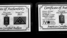 ACB  Platinum and Palladium 5GRAIN Bullion Bars w/Certificate of Authenticity