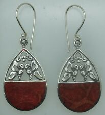 a Handcrafted Red Coral Dangle Earrings in 925 Sterling Silver