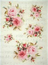 Rice Paper for Decoupage, Scrapbook Sheet, Craft Paper Vintage Red Roses