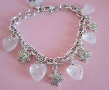 Brighton HEARTFLAKES Christmas Heart & Snowflake Charm Bracelet NWT $88