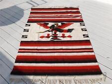 """Vintage Mexico Wool SerapeThunderbird Snake Blanket Rug 83""""x47"""" w Fringe"""