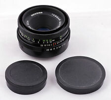 Carl Zeiss Jena Tessar 50mm f2.8 black with green distance scale M42 auto mint