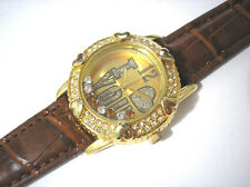 """Iced Out Bling Bling Leather Band """"I Love You"""" Ladies Watch Gold"""