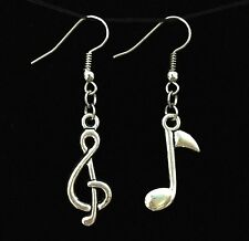 Lady Lovely Tibet Silver Musical Clef Music Notes Alloy Dangle Pendant Earrings