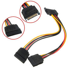 1Pcs 15-Pin SATA Male to 2 Female Power Converter Adapter Extension Cable For PC