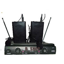 PRO DUAL UHF LAPEL LAVALIER WIRELESS CORDLESS MIC MICROPHONE SYSTEM