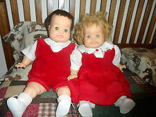 BOBBY DEAR ONE & BABY DEAR ONE Wilkins twins GC, in Christmas attire