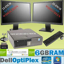 "Rápido de escritorio Dell con pantalla dual 2 X 22"" HD LCD Set Completo PC Windows 7 6GB Wi-fi"