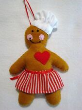 """HAND~CRAFTED 6"""" GINGERBREAD CHEF FELT CHRISTMAS ORNAMENT"""