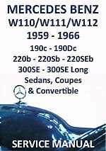 MERCEDES BENZ WORKSHOP MANUAL: W110, W111 & W112 1959-1966
