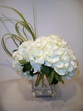 ARTIFICIAL WHITE HYDRANGEA FLOWERS ARRANGED IN GLASS CUBE VASE WITH RESIN WATER