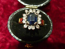 FABULOUS VINTAGE 18CT YELLOW GOLD SAPPHIRE DIAMOND CLUSTER RING C 1950'S