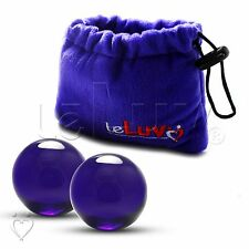 "LeLuv Ben-Wa Balls 3.7 oz. 1.6"" Blue Glass Kegel Exercise Female Massager LARGE"