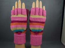 Pink gloves stripe flip top mittens convertible fingerless texting open thumb