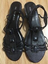 Fashion Bug * Black  Open Toe Strappy Slingback Embellished Sandal - Size 9