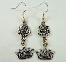 Alice in Wonderland Earrings, Handmade, Tibetan Silver, Red Queen Rose & Crown