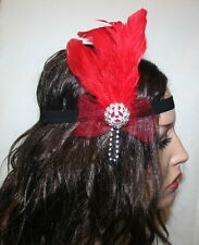 New Year.Red Feather Vintage Headpiece,1920s Great Gatsby Headband.