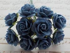 100! Long Stem Handmade Mulberry Paper Roses - 10/15mm - Lovely Steel Blue Rose!