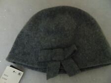 August Accessories Women's Skully Knit Beanie Hat Gray Bow Detail One Size