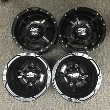 4 NEW HONDA TRX400EX TRX400X 400 BLACK ITP SS112 Rims FOUR WHEEL SET CAPS & LUGS